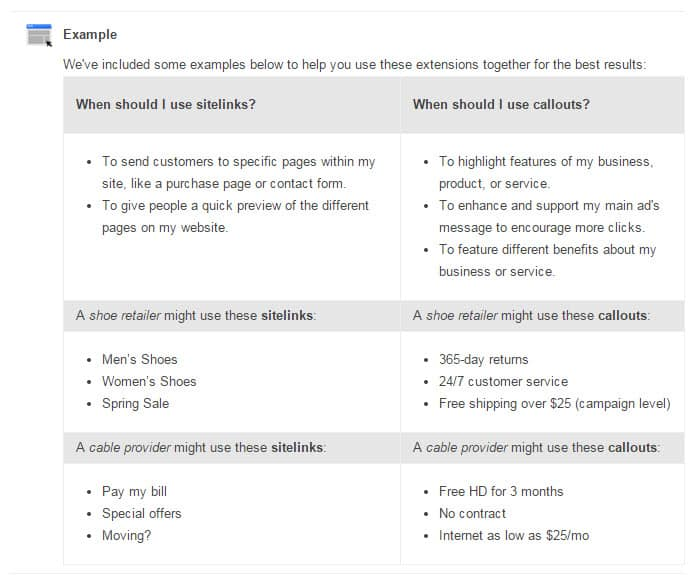 Callouts vs. Sitelinks in Google AdWords